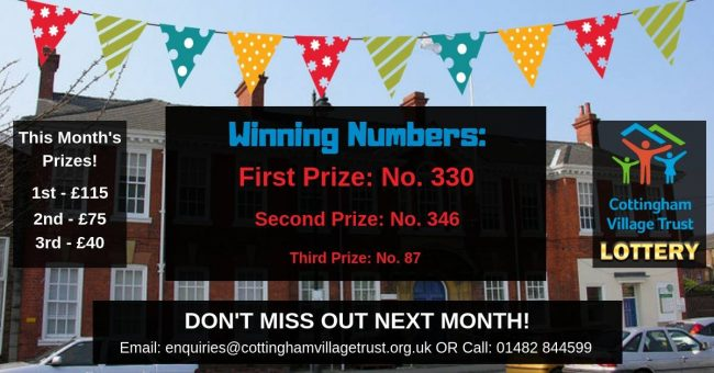 Here are the winners of the new Cottingham Village Trust 500 Club Lottery!