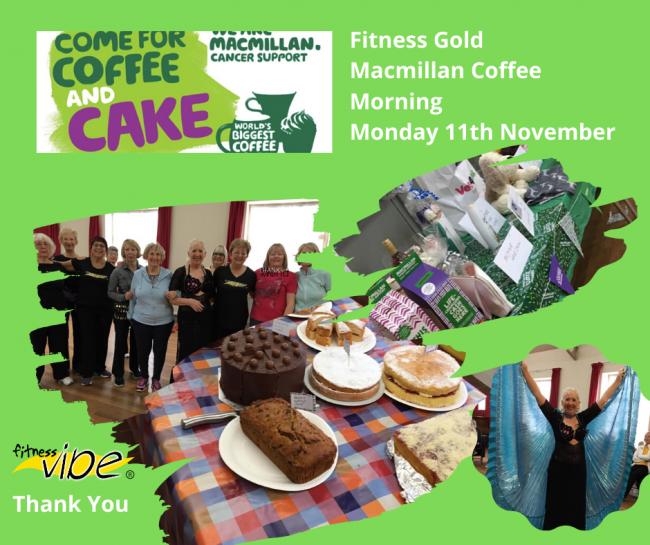 Fitness Gold annual Macmillan coffee morning Monday 11th November