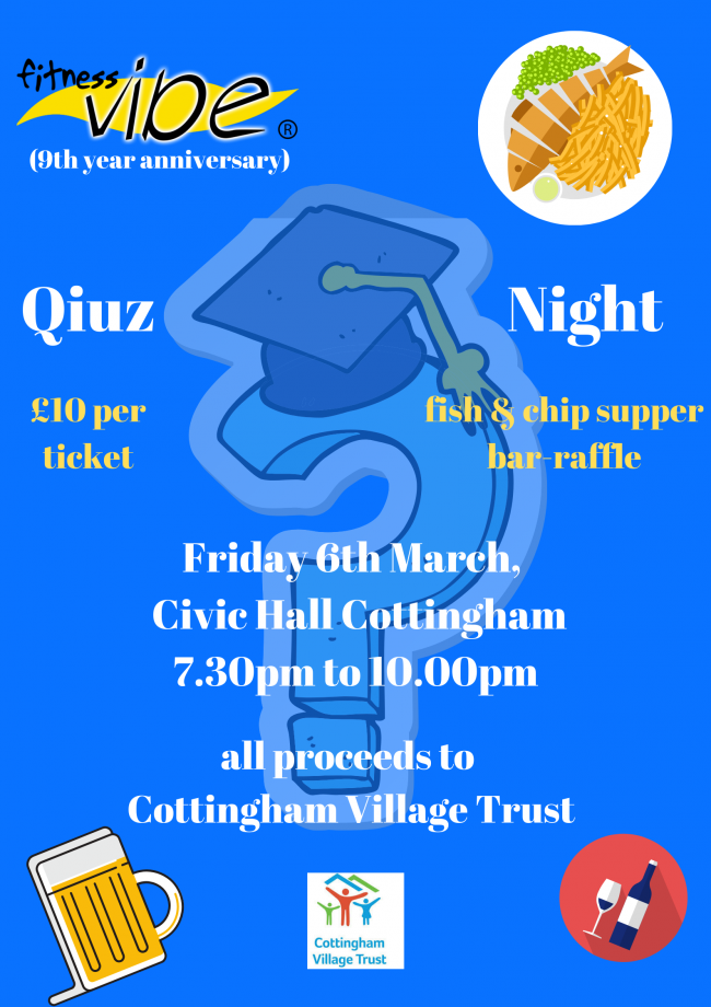 Fitness Vibe Anniversary Fun Quiz Friday 6th March, Civic Hall, Cottingham