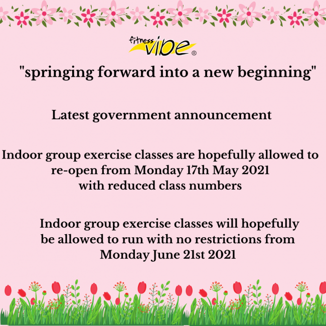 Latest government announcement about the re-opening of indoor group exercise classes